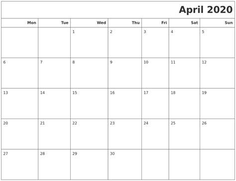 april calendars print