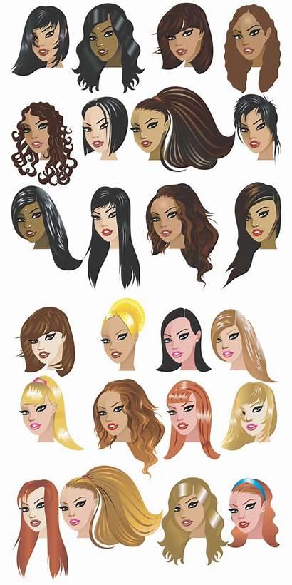 Vector Haircut Templates Cartoon Hairstyles Hair Female
