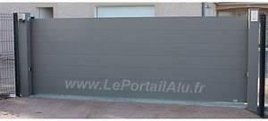 Portail Alu 4m : portail coulissant plein en alu 4m lame large 220 flat ~ Voncanada.com Idées de Décoration