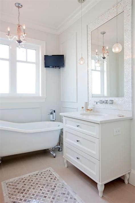 mother  pearl vanity mirror transitional bathroom