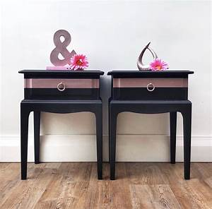 Pair, Of, Stag, Bedside, Tables, Cabinets, Matching, Painted, Elegant, Black, U0026, Rose, Gold, With, Images