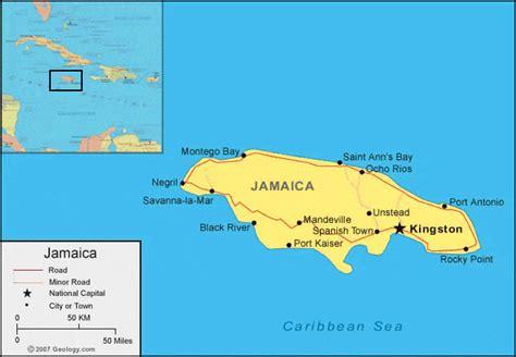 jamaica map  satellite image