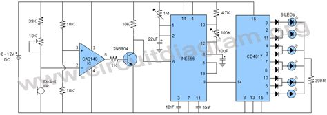 Sound Activated Knight Rider Led Chaser Circuit Diagram