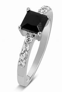 Luxurious 1 Carat Princess cut Black and White Diamond ...