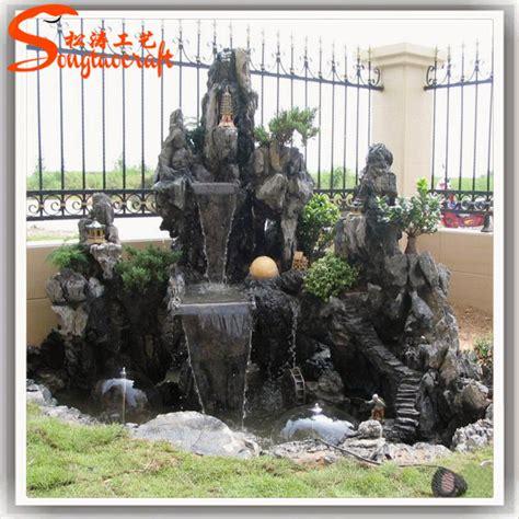 Buddha Brunnen Outdoor by Black Fiberglass Artificial Rock Garden Buddha