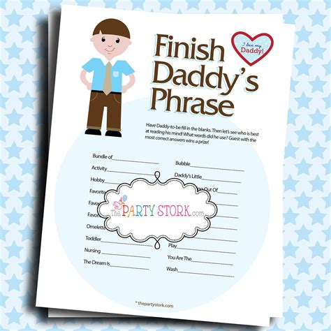 Baby Shower Games Finish Daddy's Phrase Many Unique Game