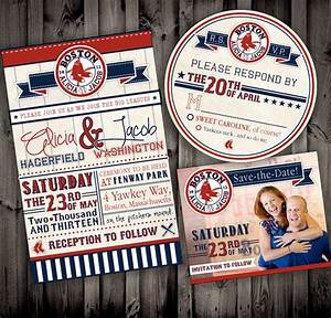 vintage style baseball red sox themed or any by nimbidesi With red sox wedding invitations