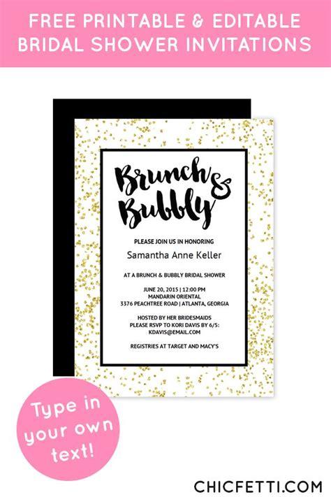 Free Printable Bridal Shower Invitations - gold confetti brunch bubbly bridal shower invitation