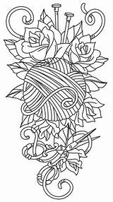 Tattoo Knitting Embroidery Yarn Crochet Urban Unique Threads Sleeve Urbanthreads Awesome Paper Patterns Tattoos Coloring Pdf Sewing Pattern Ball Crafty sketch template
