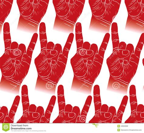 Rock Hands Seamless Pattern, Rock, Metal, Rock And Roll