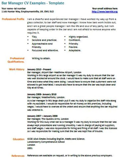 bar manager cv  learnistorg
