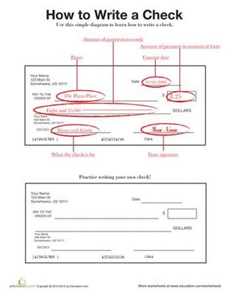 check writing checking account worksheets and social