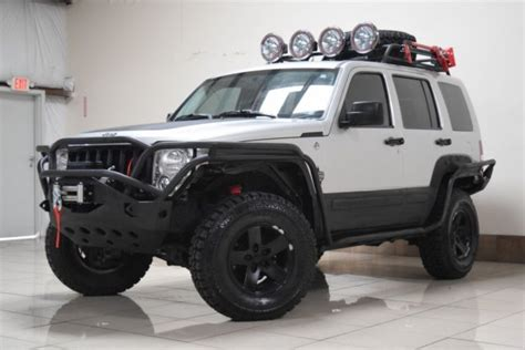 silver jeep liberty with black rims custom lifted jeep liberty 4x4 tow winch blk rims low miles