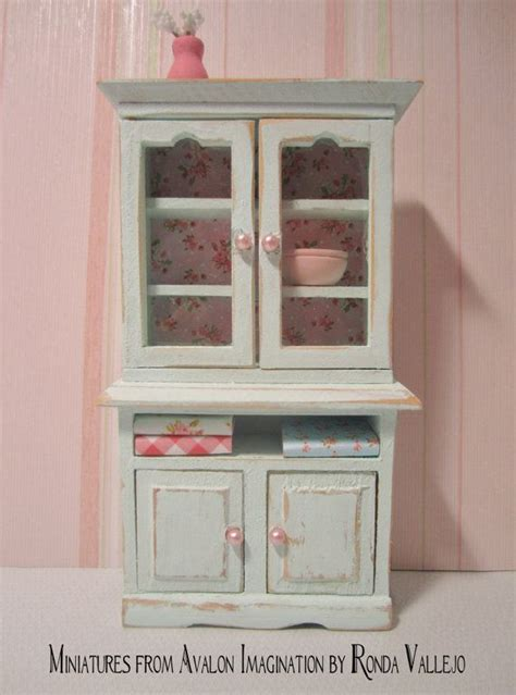 shabby chic dining room hutch 1 12th scale miniature dollhouse shabby chic kitchen