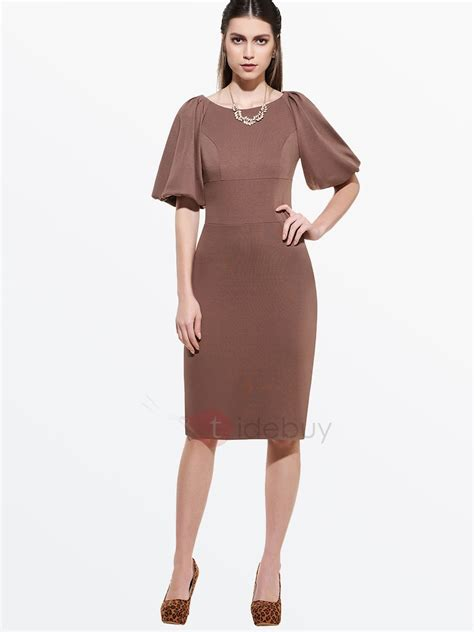 solid color dresses solid color half sleeve work bodycon dress tidebuy