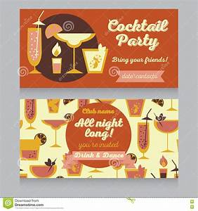 Design Template For Cocktail Party In Retro Style Stock ...