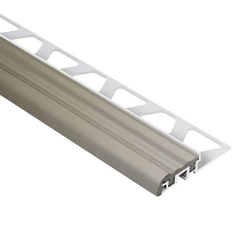 Rubber Stair Nosing For Tile by Schluter Jolly Satin Nickel Anodized Aluminum 3 8 In X 8