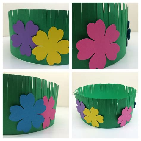 craft for hawaiian amp grass crown 191 | Flowers on Grass Crown Hawaiian Lei Grass Crown Craft Project for Kids The Bird Feed NYC 1024x1024