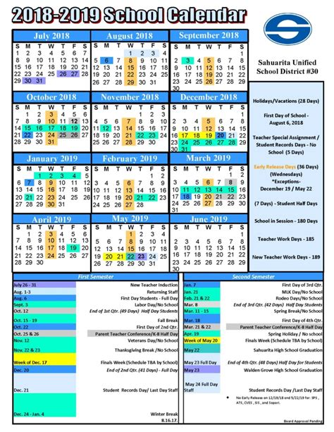 sahuarita unified school district proposed school calendar