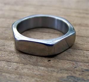 titanium ring hardware ring hexagonal ring wedding ring With custom made mens wedding rings