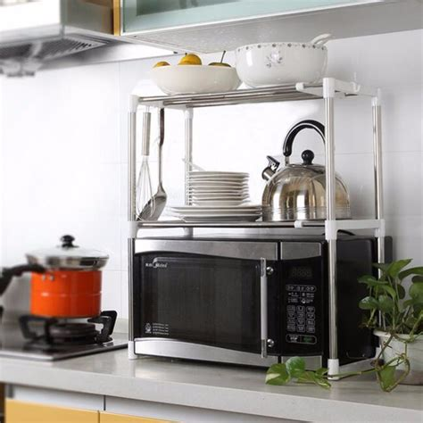 kitchen racks and storage adjustable stainless steel microwave oven shelf detachable 5543