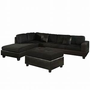 Venetian worldwide dallin sectional sofa with left ottoman for Black microfiber sectional sofa with ottoman