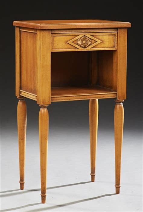 Beech Nightstand by Provincial Carved Beech Nightstand 20th C The Rect