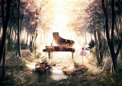 Piano Forest Anime Wallpapers Tree Background Manga