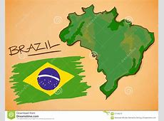 Brazil Map And National Flag Vector Stock Vector Image
