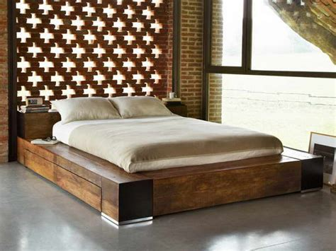 contemporary brown reclaimed solid wood bed frame with slim foam mattress with cheap