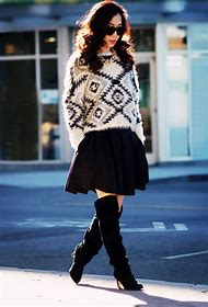 Sweater with Pleated Skirt and Boots