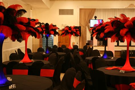 The Feather Diva Red And Black Casino Centerpieces