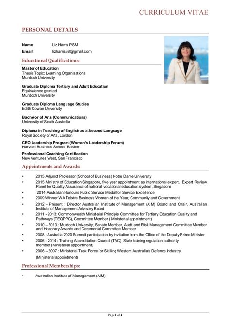Brief Curriculum Vitae Exle by Brief Cv For Liz Harris With Email 2015