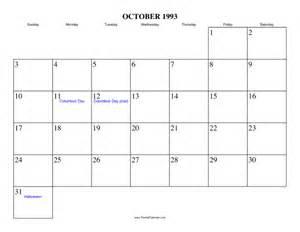 October 1993 Calendar