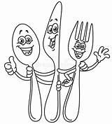 Fork Knife Cartoon Spoon Outline Coloring Outlined Forca Cartone Coltellino Cucchiaio Clipart Forks Holding Icon Caricatura Cuchillo Tenedor Cuchara Sobre sketch template