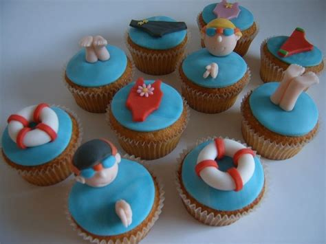love  swimming pool themed cupcakes  suggest