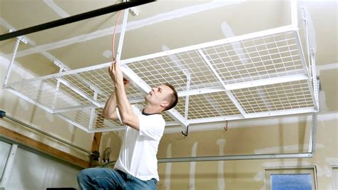 ceiling hanging shelf how to install a overhead garage storage rack ceiling