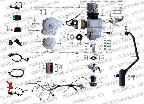 Hensim 70cc Atv Wiring Diagram by Roketa Atv 32 Engine Wiring And Exhaust Parts