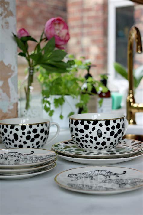 print leopard plates gold mugs trim kitchen tableware dinnerware sets utility pretty stuff