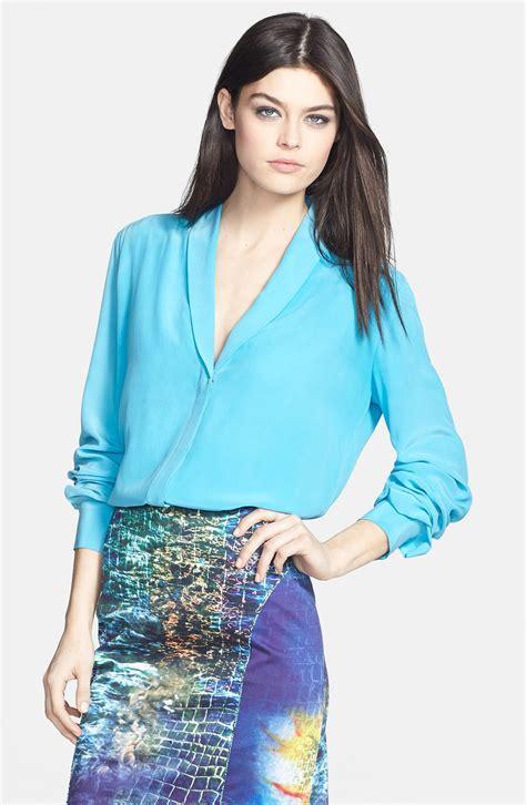 collar blouse roy shawl collar silk blouse in blue topaz lyst