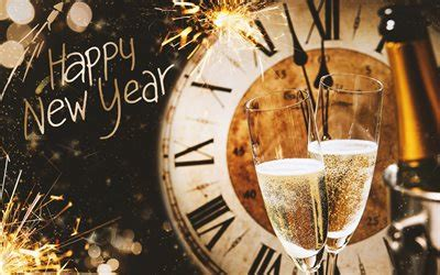 wallpapers happy  year clock  champagne