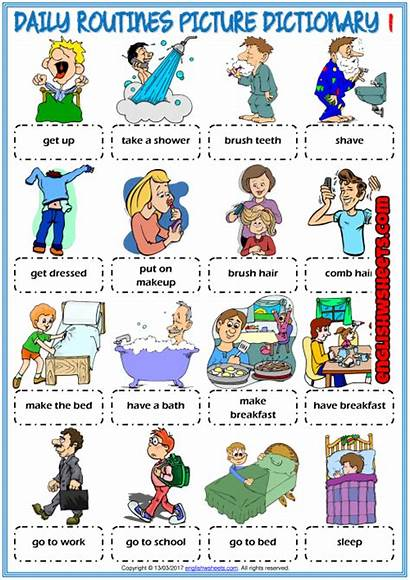 Daily Routines Vocabulary Routine Esl Dictionary Worksheets