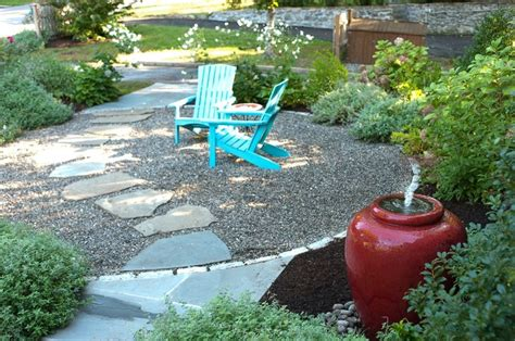 Pea Gravel Patio Ideas by Flagstone Path Through Pea Gravel Patio Yard
