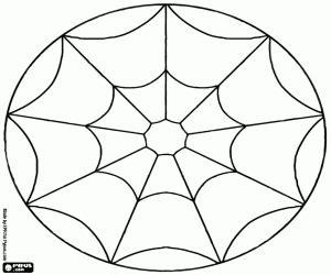 kleurplaat eenvoudige mandala met een spinnenweb kleurplaten