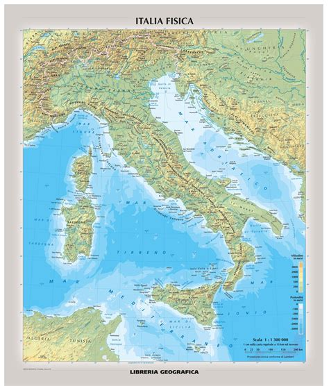 physical italy wall map italian