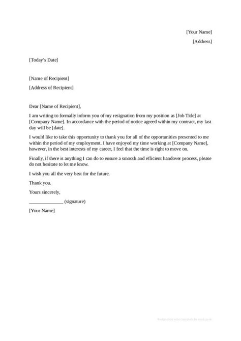 Microsoft Word Resignation Letter Template Images Reference Letter » Formal Resignation