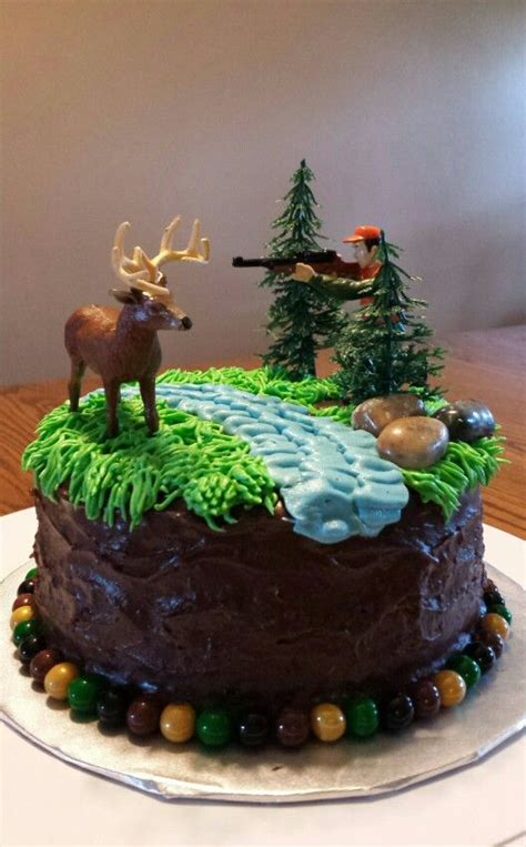 chocolate hunting cake deer  hunter scene homemade