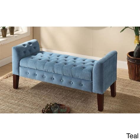 Bed Settee With Storage by Homepop Velvet Tufted Storage Bench Settee By Homepop