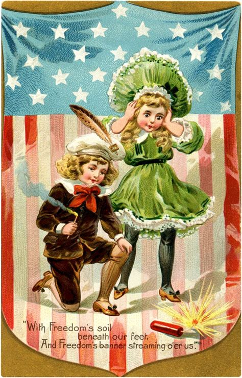 vintage firecracker kids image   july