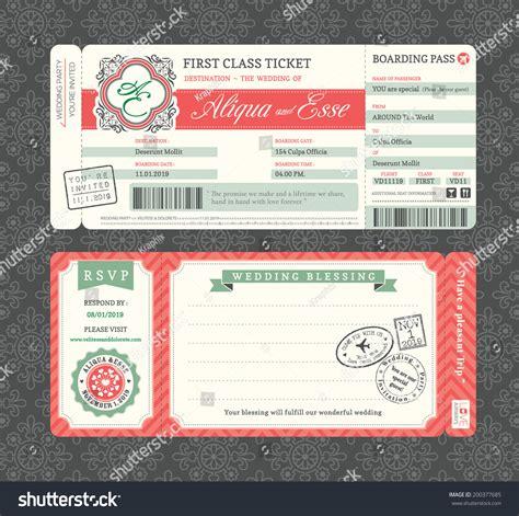 ticket invitation template vintage boarding pass ticket wedding invitation stock vector 200377685